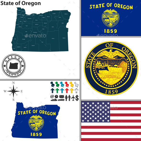 Map of State Oregon, USA - Travel Conceptual