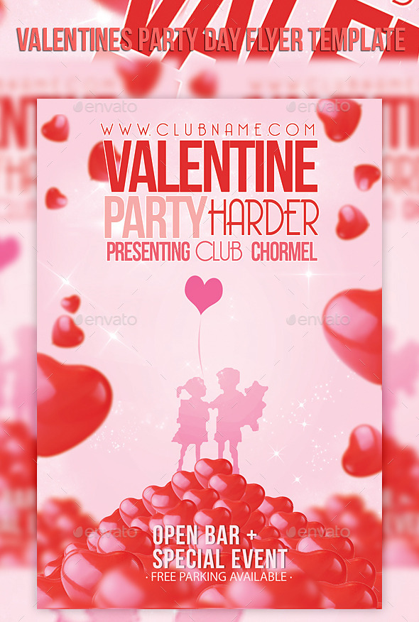 Valentines Party Day Flyer Template - Events Flyers