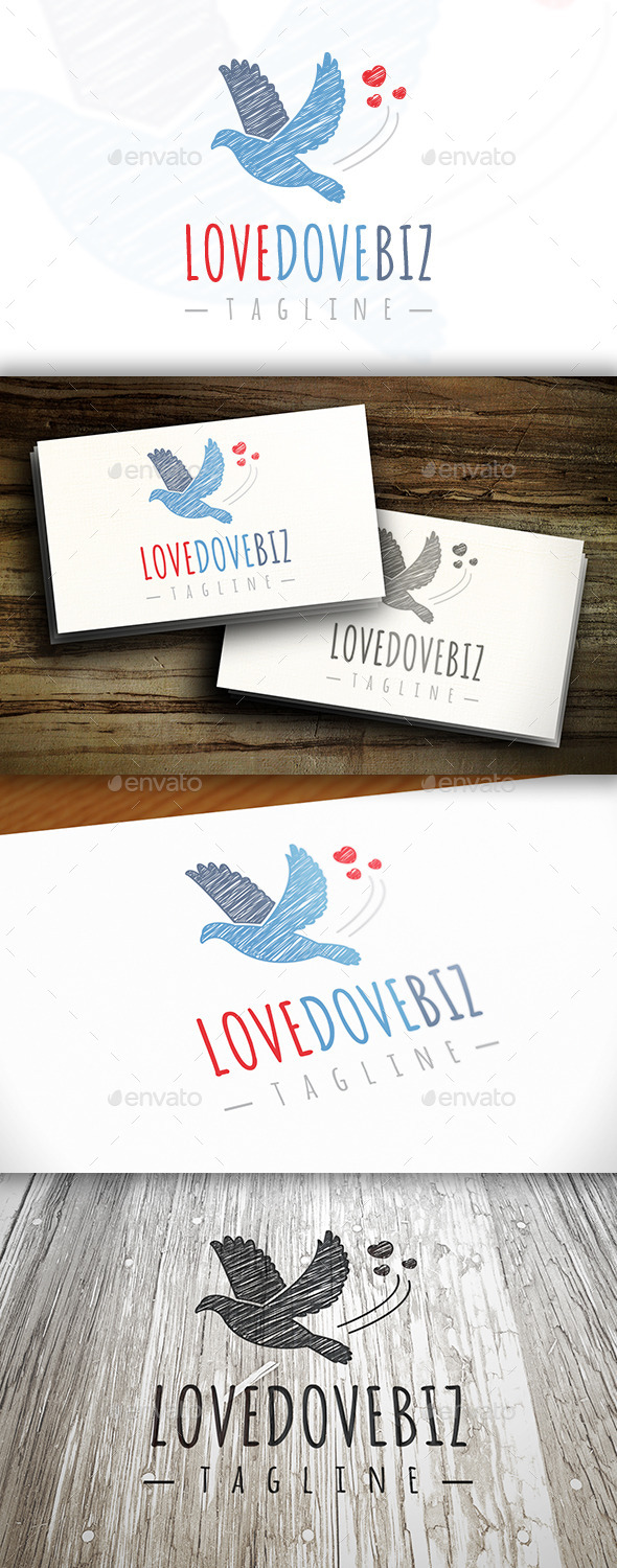 Love Dove Logo - Animals Logo Templates
