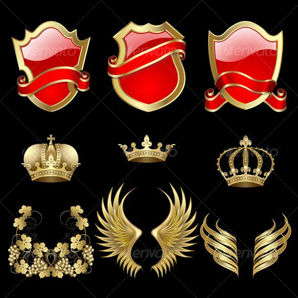 Set of heraldic elements - Decorative Symbols Decorative