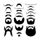 Moustaches and Beards Silhouette Icons - GraphicRiver Item for Sale