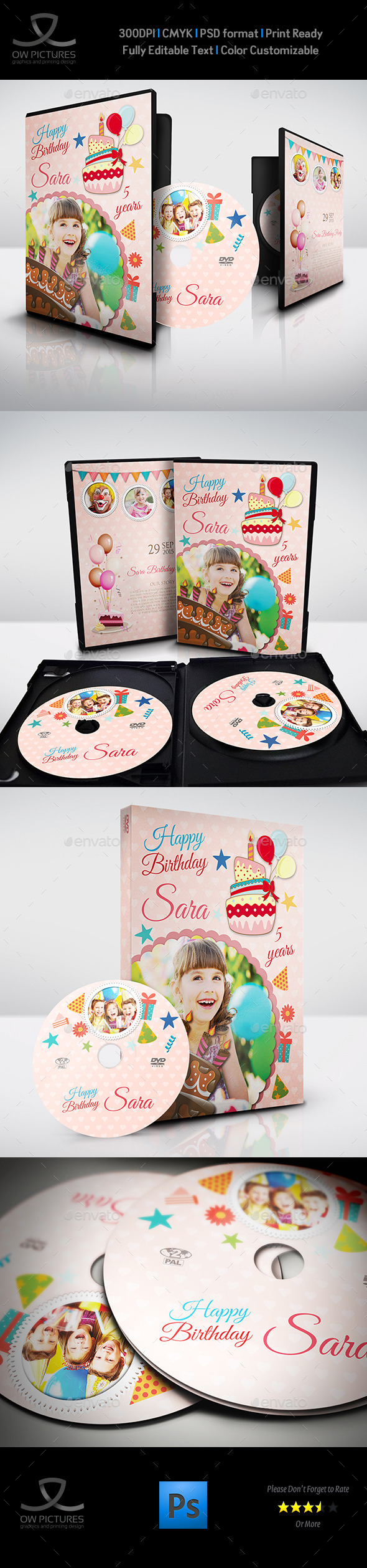 Birthday Party DVD Cover and DVD Label Template - CD & DVD Artwork Print Templates