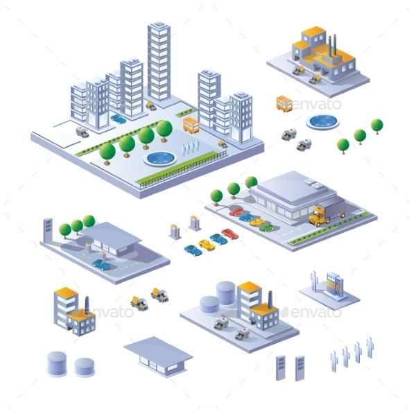 Set of Isometric Buildings - Buildings Objects