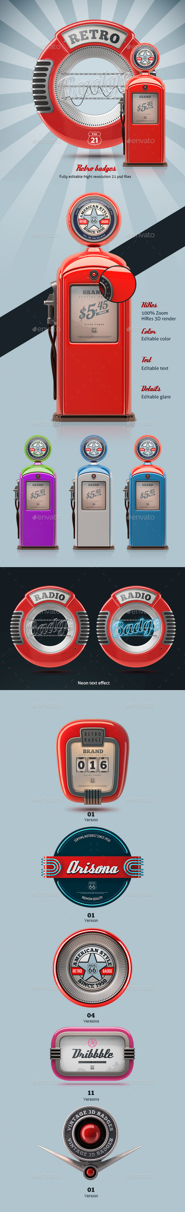 3D Retro Badges - Badges & Stickers Web Elements