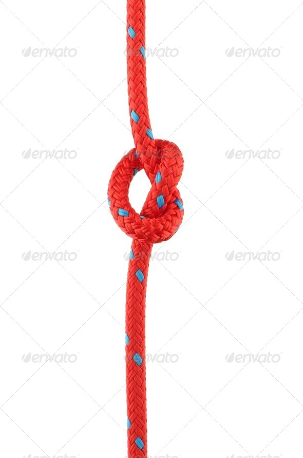 Knot in Red Rope - Stock Photo - Images