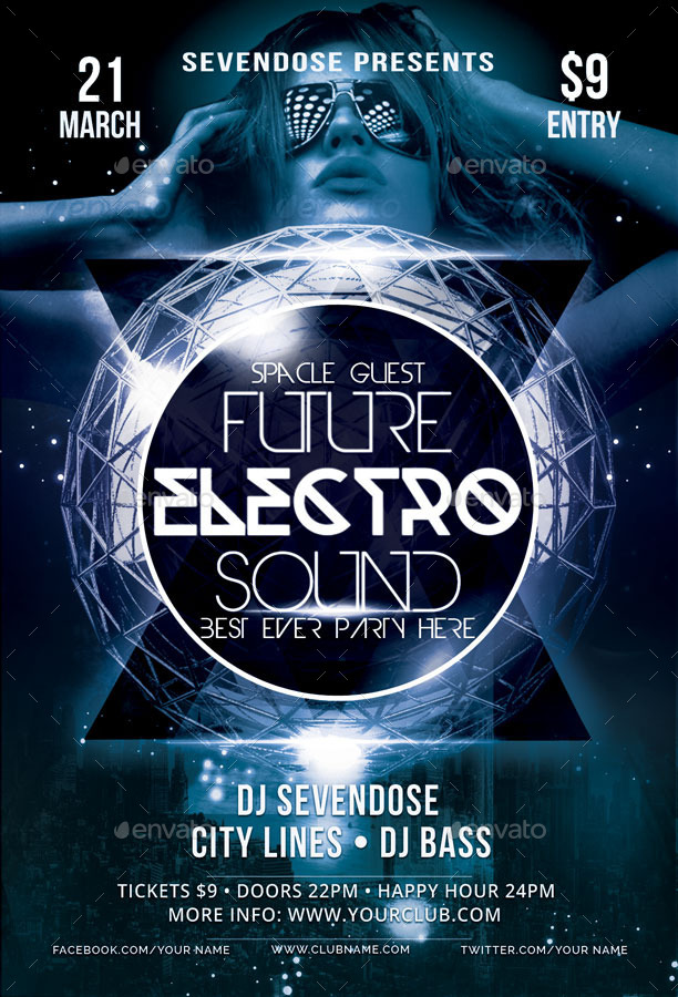 Future Electro Sound Flyer Template By Babagraphicstudio