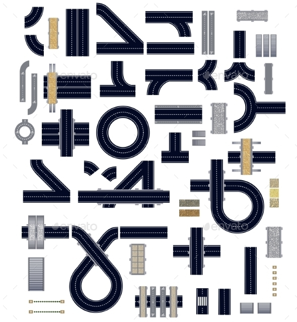 Road Set - Buildings Objects