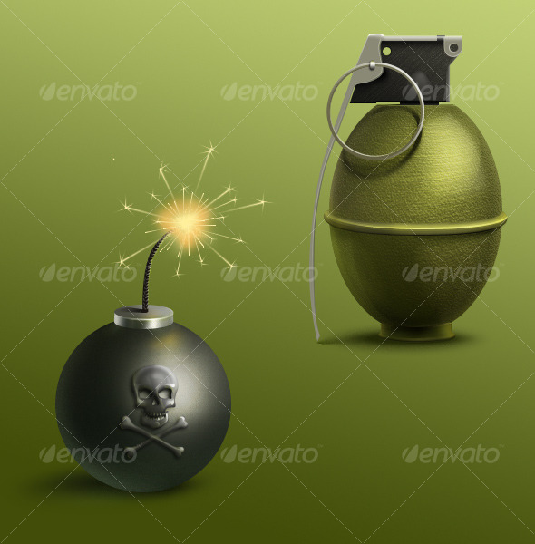 Bomb and Grenade - Objects Illustrations