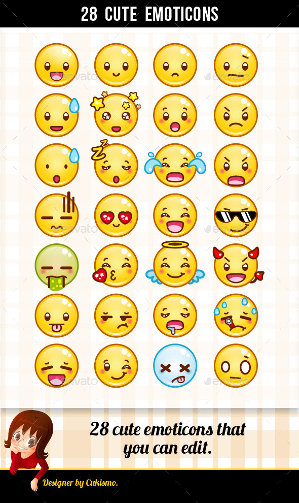 28 Cute Emoticons - Miscellaneous Characters