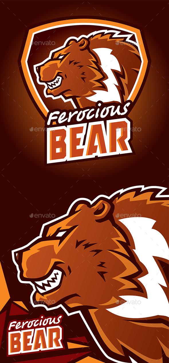 Ferocious Bear Logo - Animals Characters