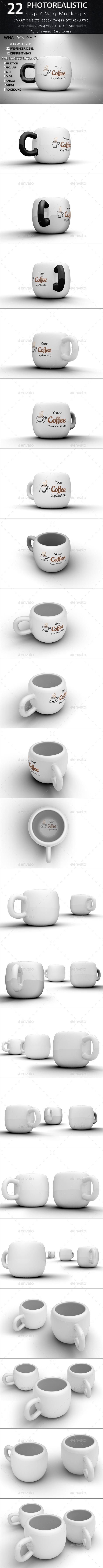 22 Cup / Mug Mock-ups  - Product Mock-Ups Graphics