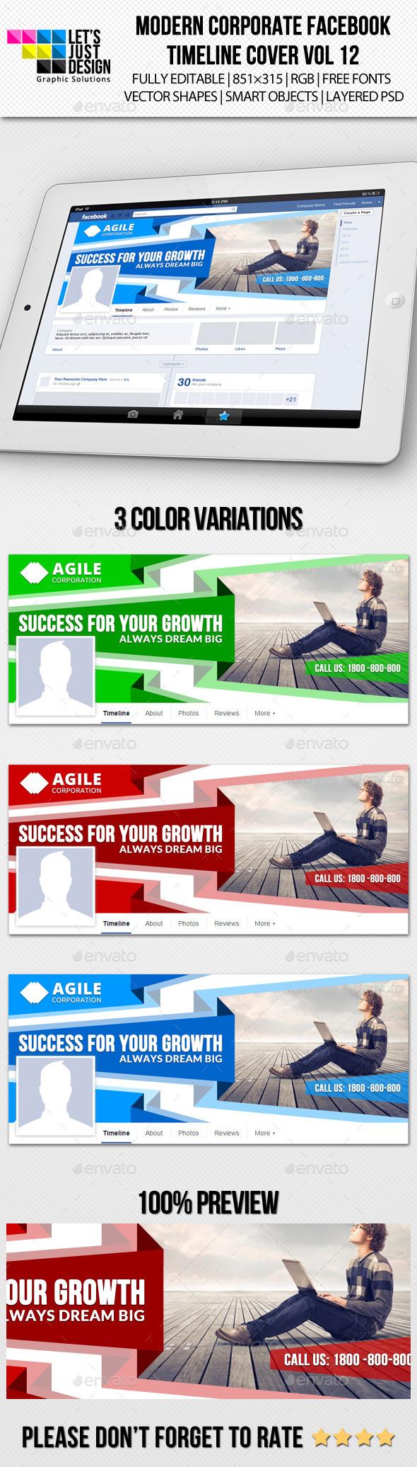 Modern Corporate Facebook Timeline Cover Vol 12 - Facebook Timeline Covers Social Media