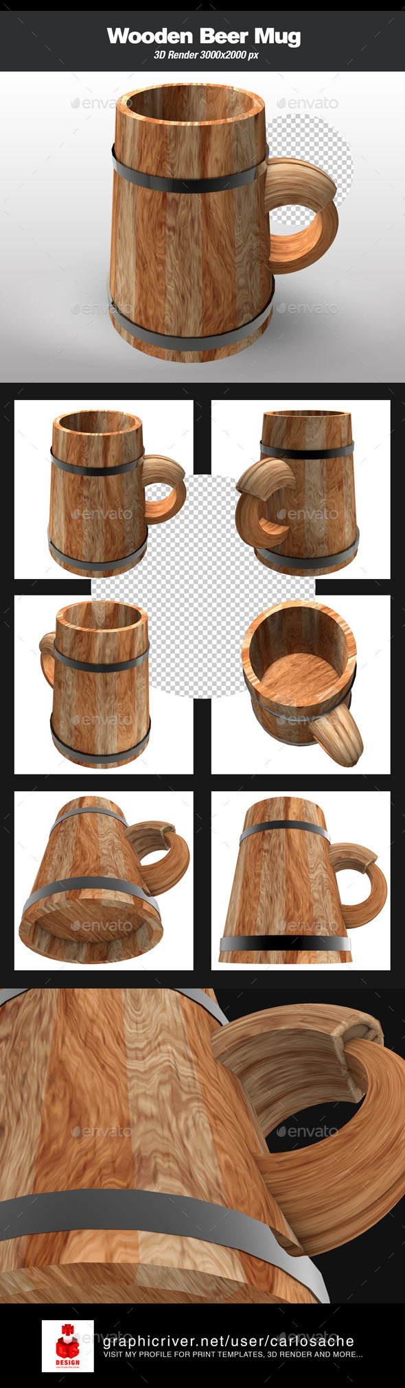Wooden Beer Mug  - Objects 3D Renders