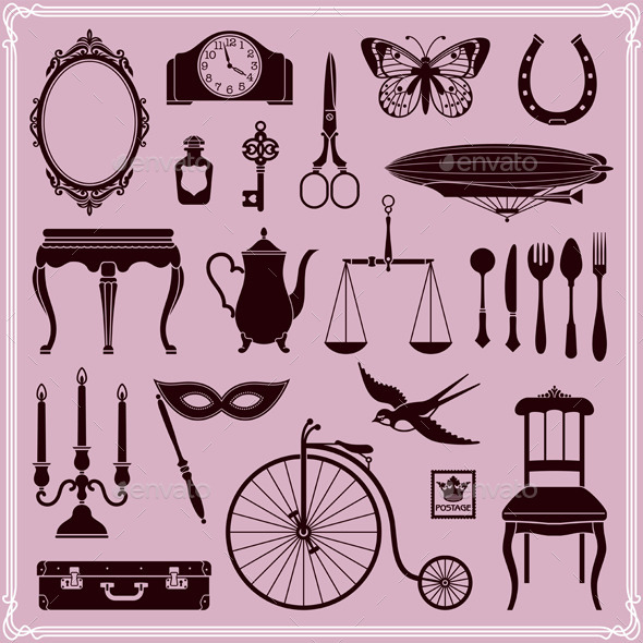 Vintage Ephemera Icons and Objects of Old Era - Man-made Objects Objects