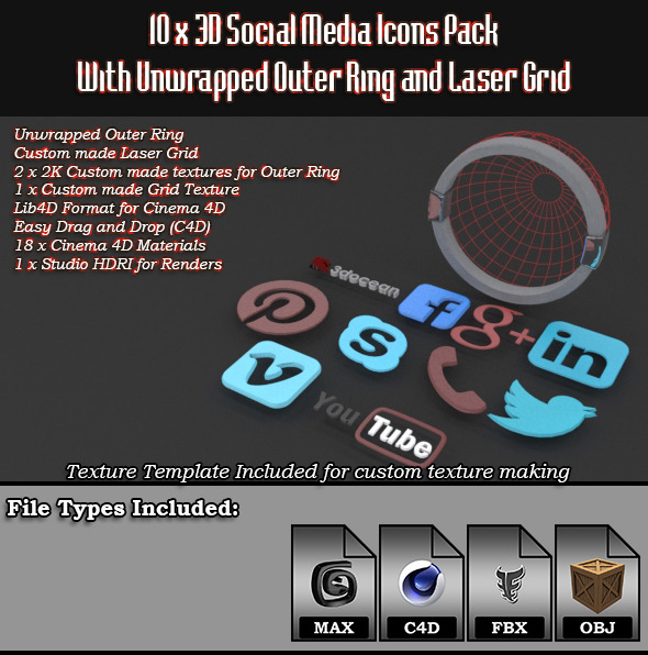 10 x 3D Social Media Icons with Laser Grid Pack - 3DOcean Item for Sale