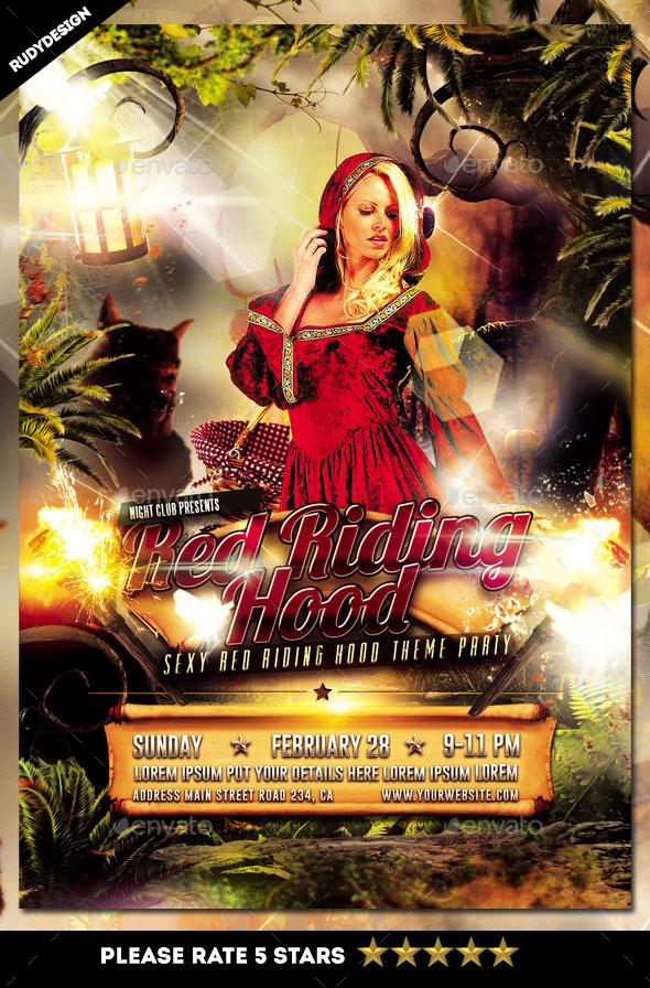Sexy Red Riding Hood Party Flyer Template - Clubs & Parties Events