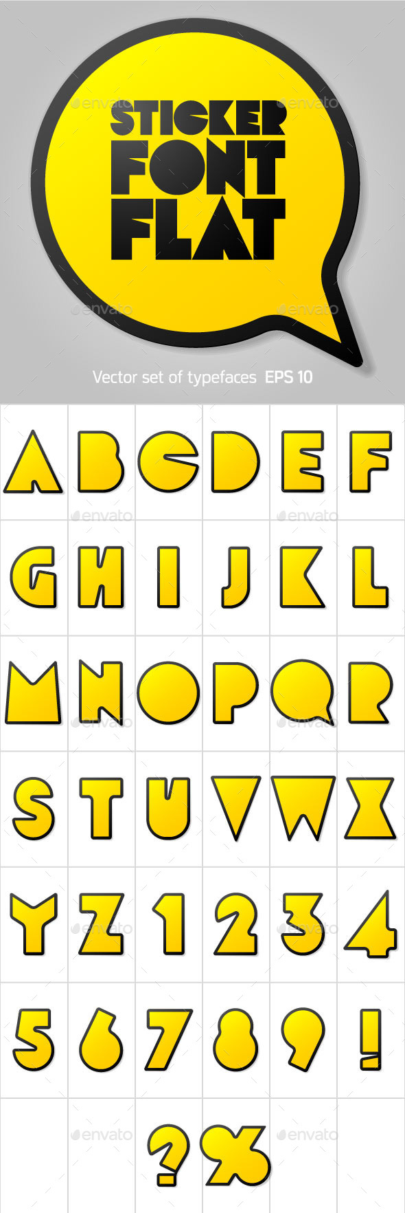 Alphabet in the Form of Stickers - Decorative Symbols Decorative