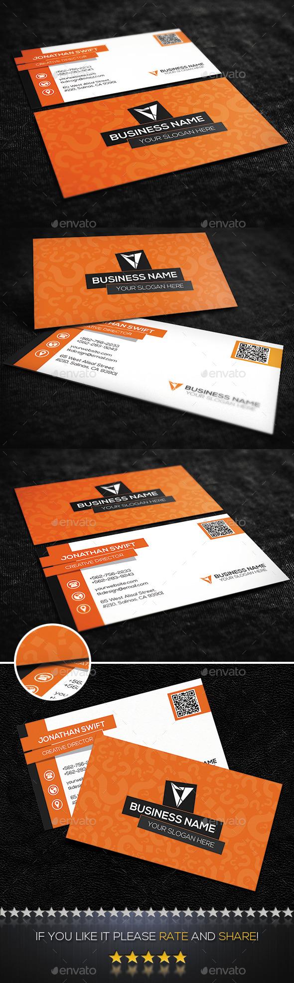 Orange Creative Corporate Business Card - Corporate Business Cards