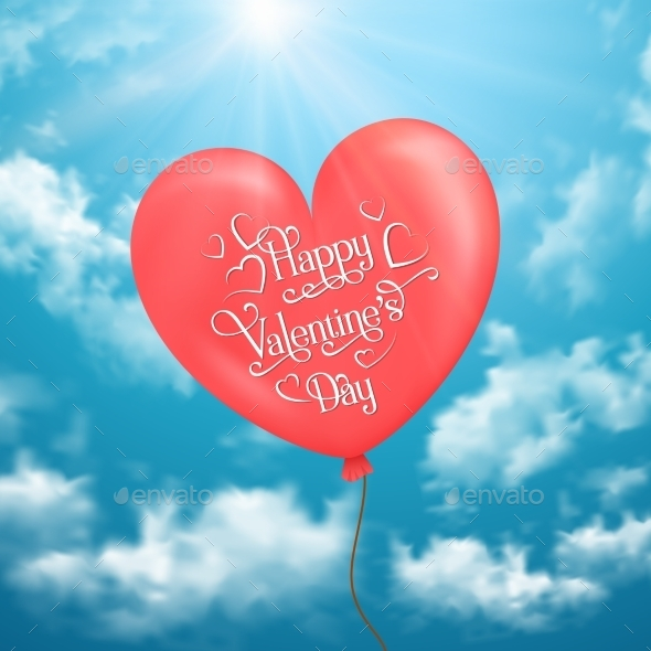 Valentine's Card with Heart-Shaped Balloon - Valentines Seasons/Holidays