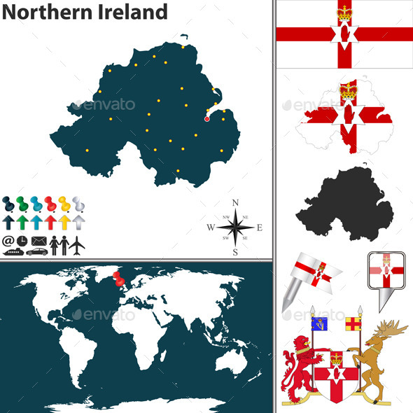 Map of Northern Ireland - Travel Conceptual
