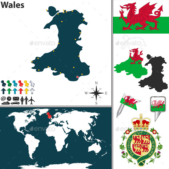 Map of Wales - Travel Conceptual