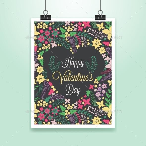 Valentine's Poster - Decorative Symbols Decorative
