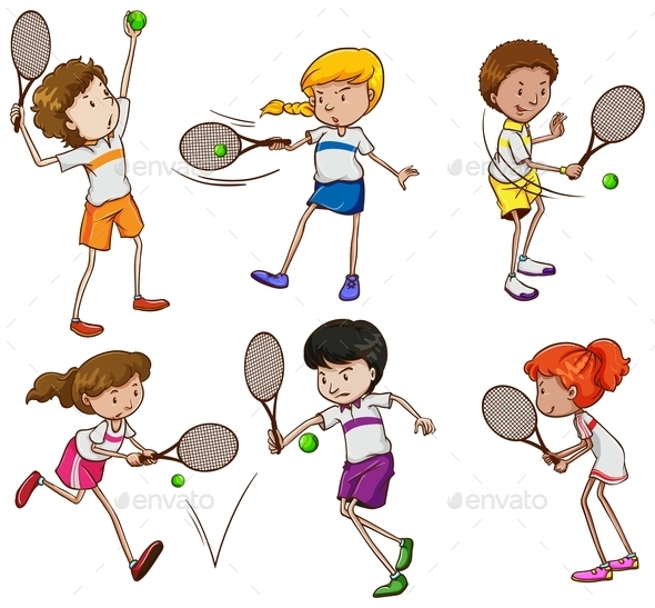 Kids Playing Tennis - People Characters
