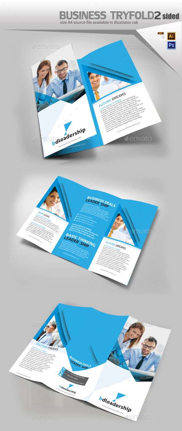 Business Three Fold Brochure Design  - Brochures Print Templates