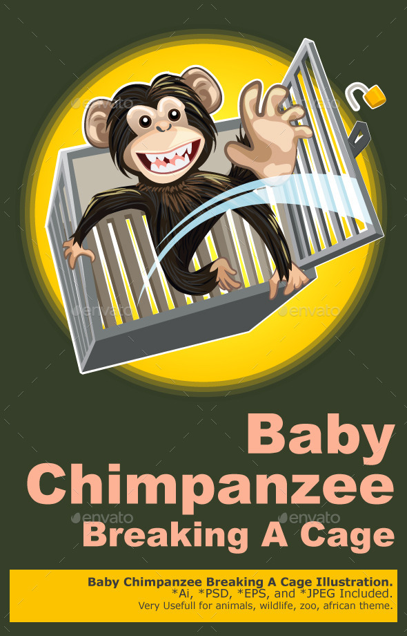 Baby Chimpanzee Breaking a Cage - Animals Characters