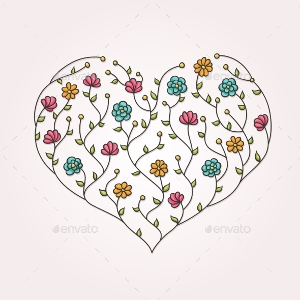 Illustration of Floral Heart - Flowers & Plants Nature