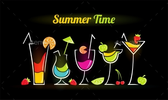 Illustration of Summer Cocktails - Halloween Seasons/Holidays
