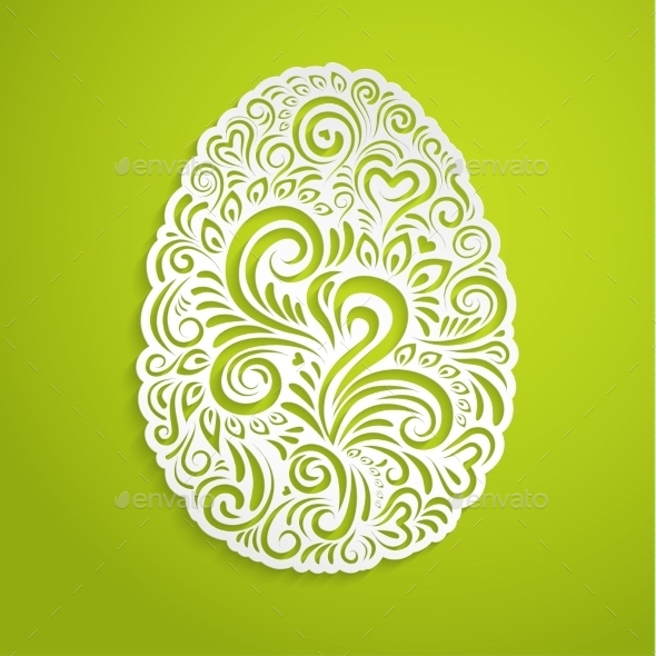 Paper Easter Egg on Green - Backgrounds Decorative