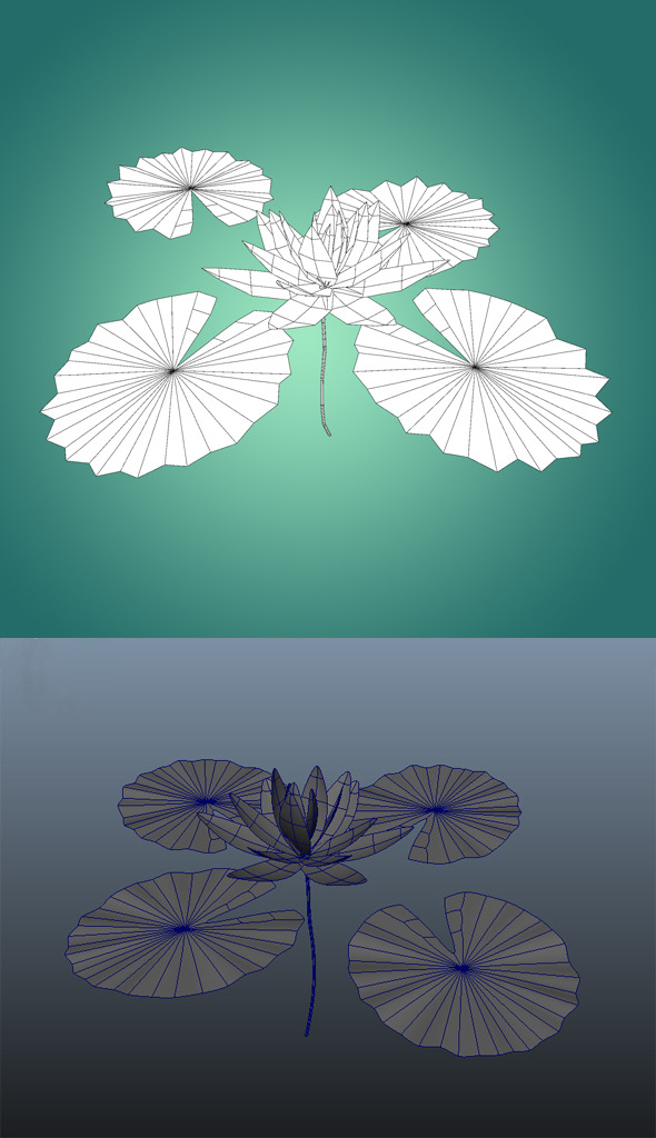 Low Poly Water Lily Flower - 3DOcean Item for Sale