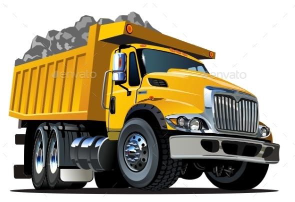 Cartoon Dump Truck - Man-made Objects Objects