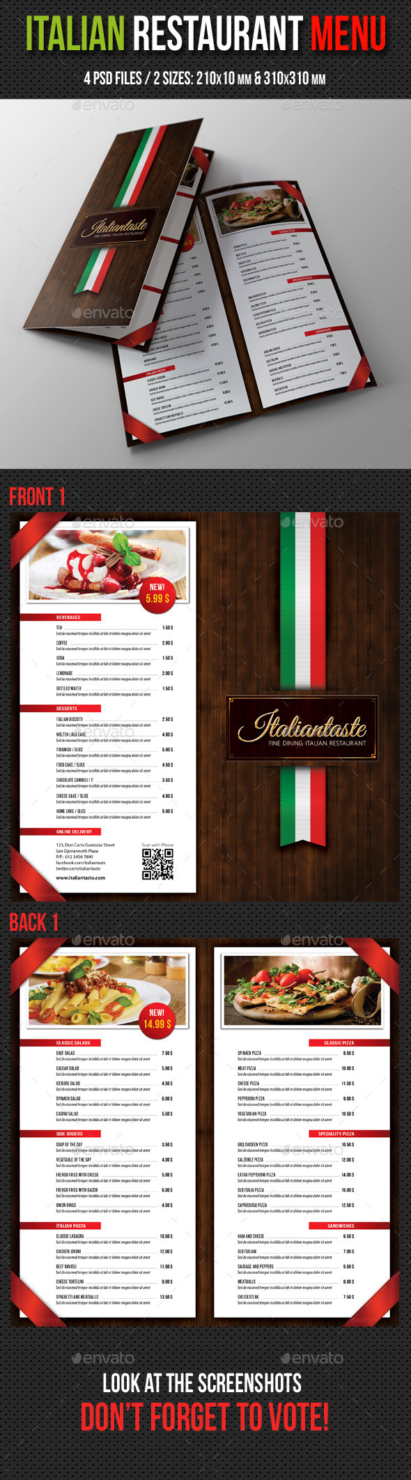 Italian Restaurant Menu Brochure - Food Menus Print Templates