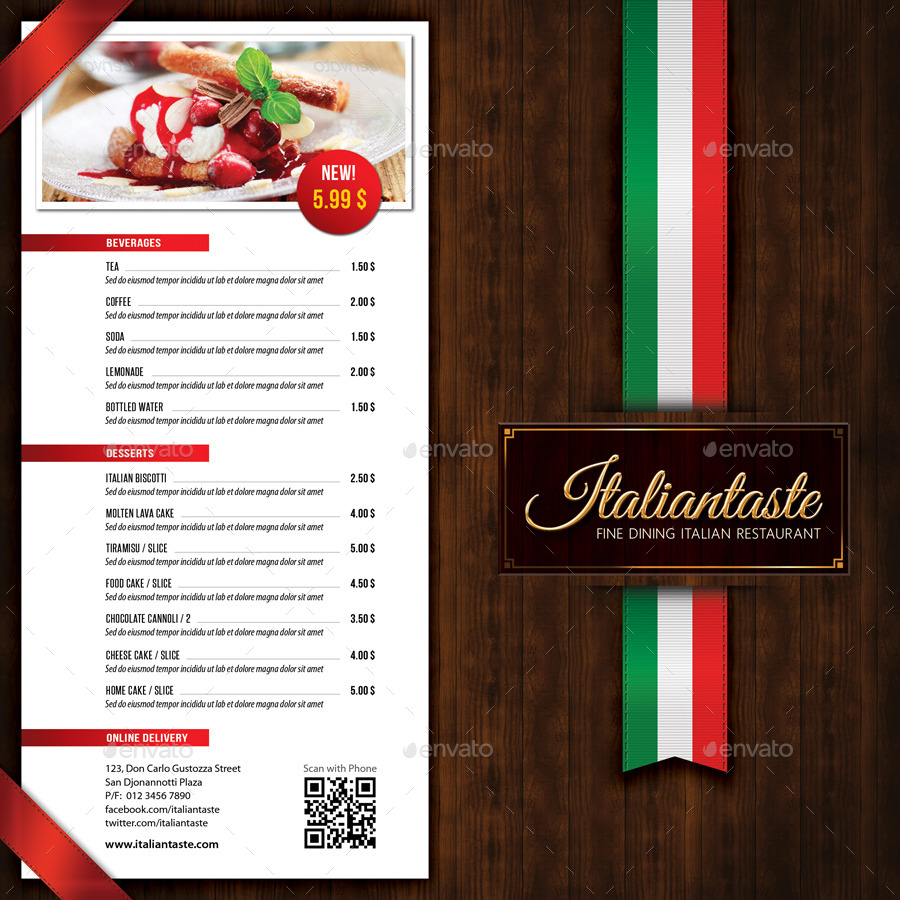italian restaurant menu brochure by rapidgraf