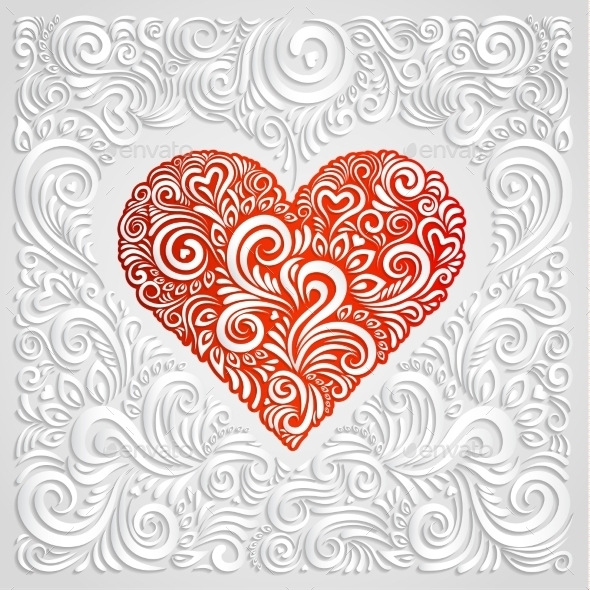 White Floral Paper Heart  - Backgrounds Decorative