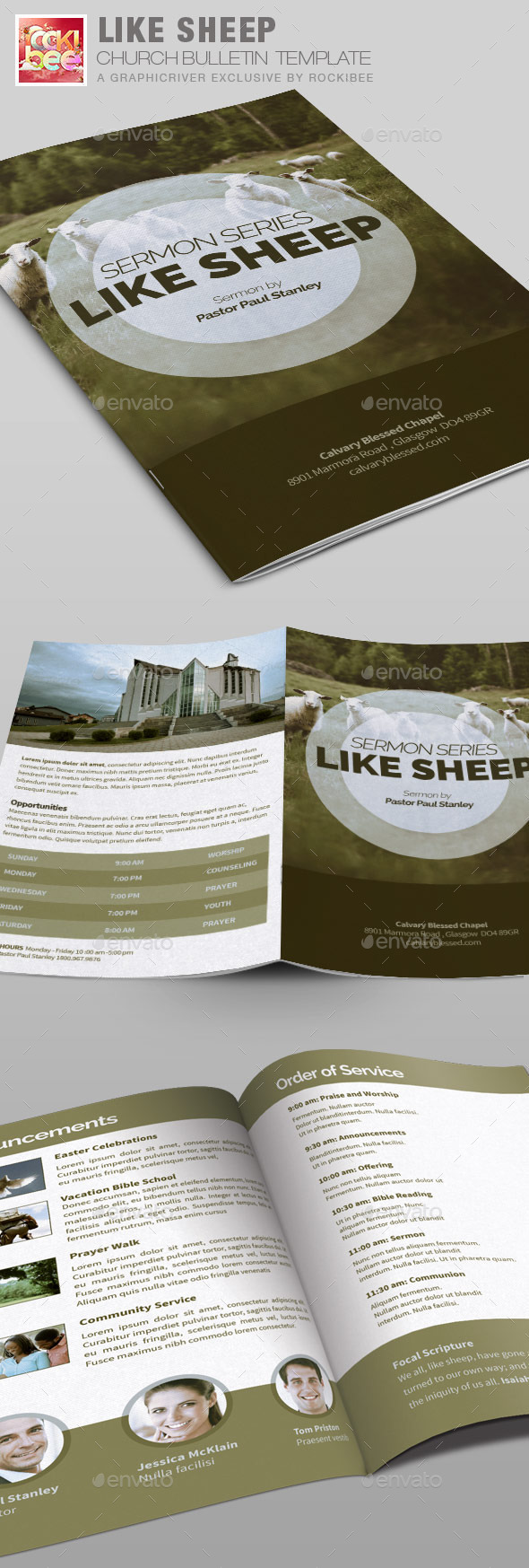 Like Sheep Church Bulletin Template - Informational Brochures