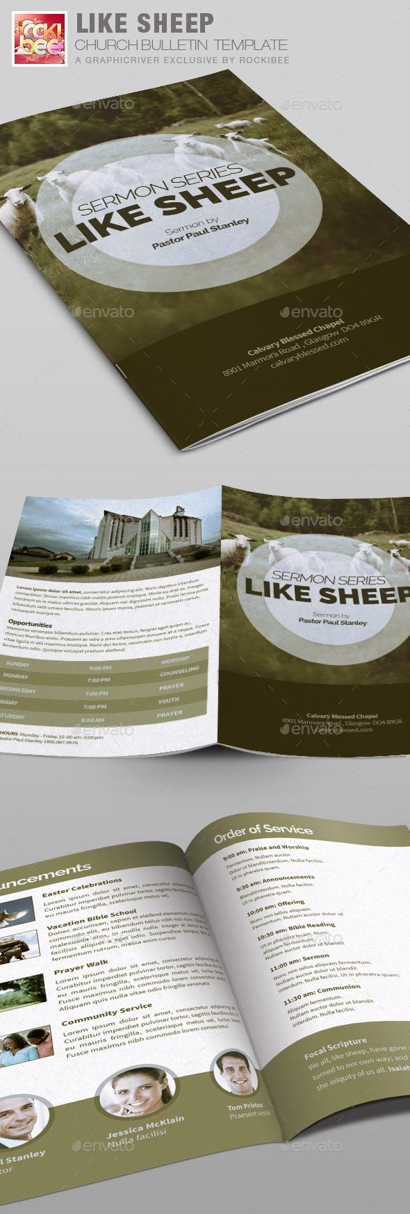 Like Sheep Church Bulletin Template - Informational Brochures