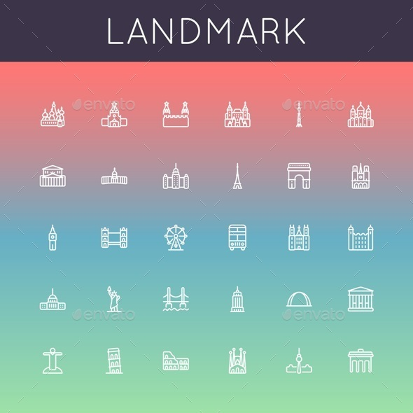 Vector Landmark Line Icons - Buildings Objects