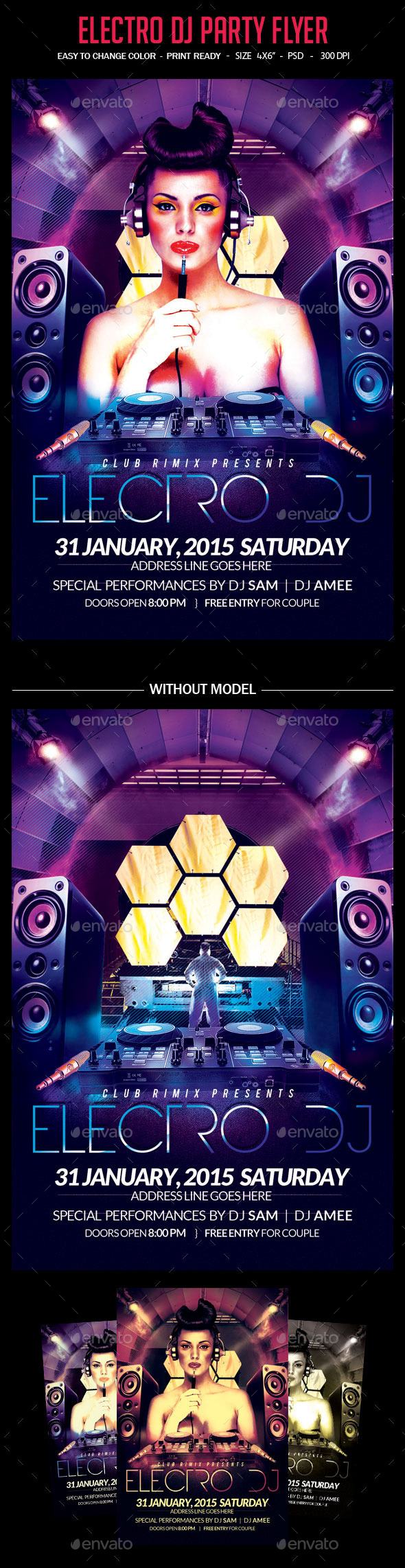 Electro Dj Party Flyer - Clubs & Parties Events
