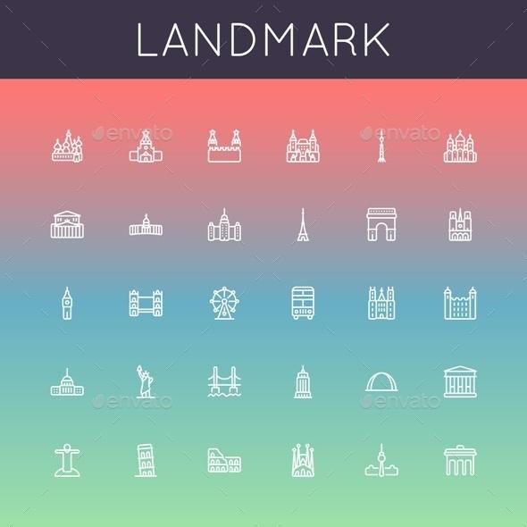 Landmark Line Icons - Travel Conceptual