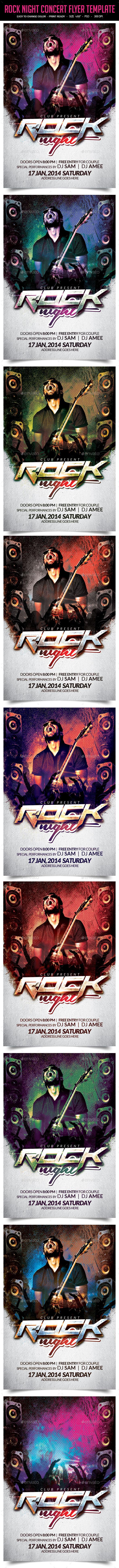 Rock Night Concert Flyer Template - Clubs & Parties Events