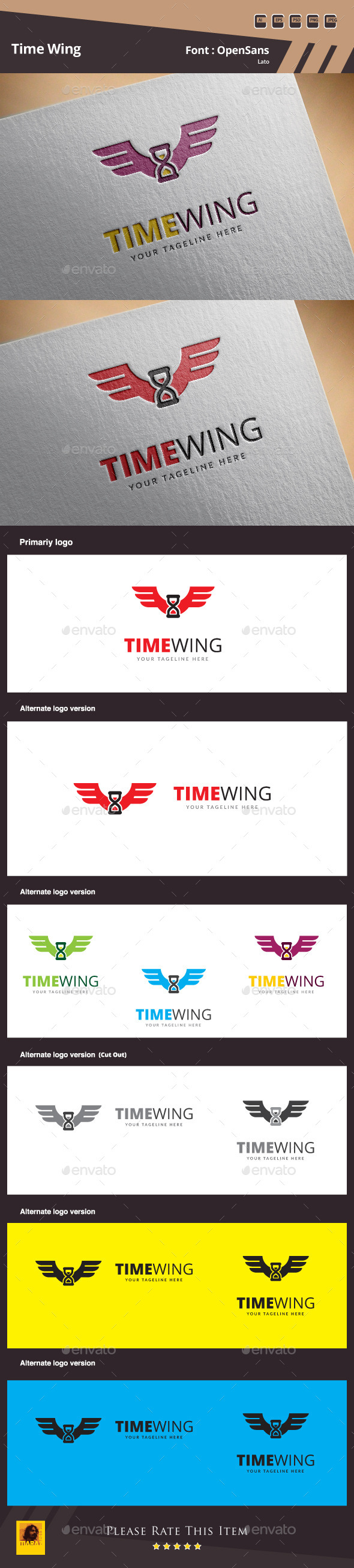 Time Wing Logo Template - Symbols Logo Templates