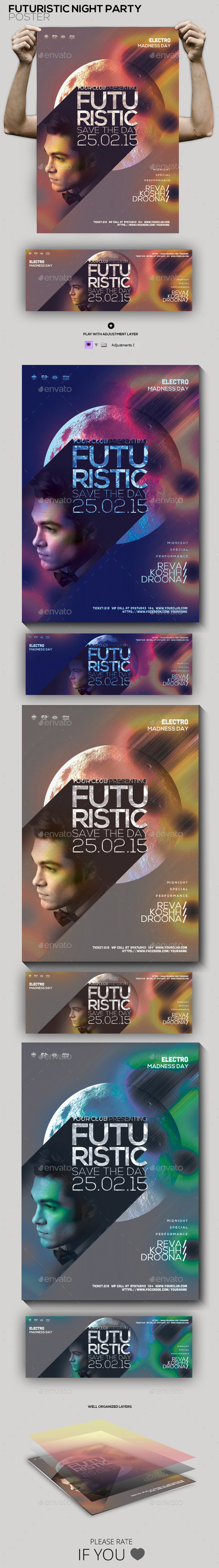 Futuristic Guest Dj Party Flyer/Poster - Clubs & Parties Events