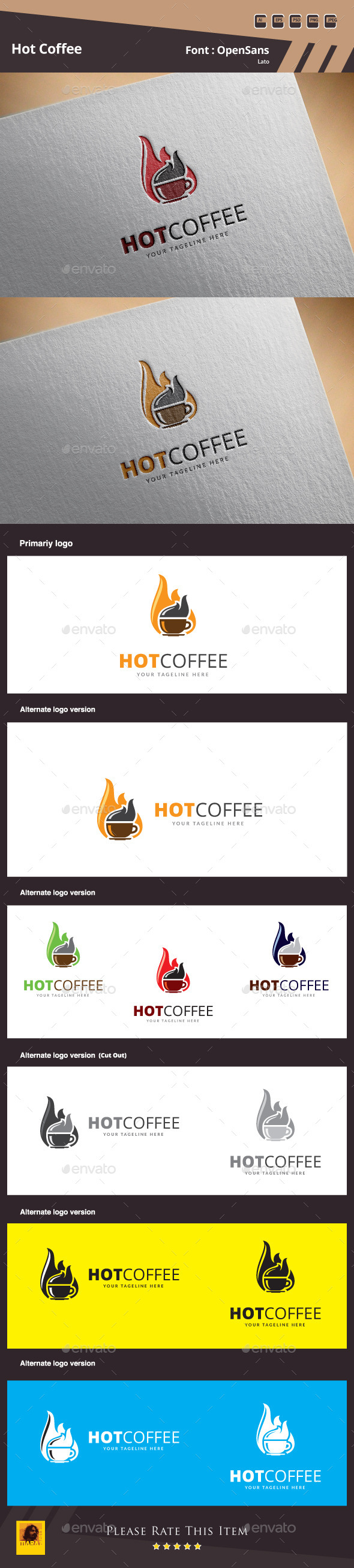 Hot Coffee Logo Template - Food Logo Templates