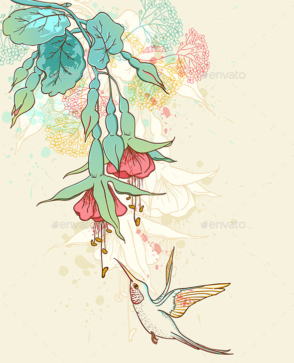 Hummingbird and Flowering Branch - Flowers & Plants Nature