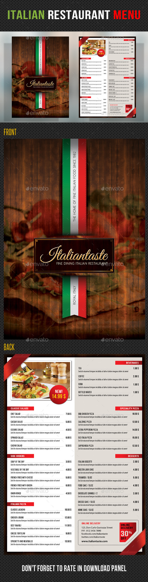 Italian Restaurant Menu Template - Restaurant Flyers