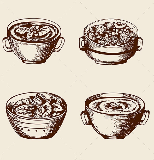 Soup From Seafood and Vegetables - Food Objects