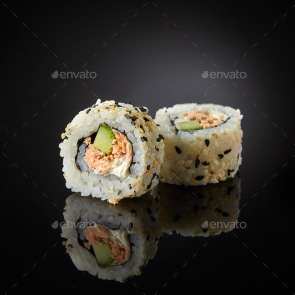 sushi with salmon and cucumber - Stock Photo - Images